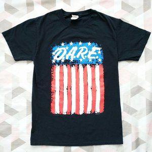 D.A.R.E Dare American Flag Graphic Tee T-Shirt S